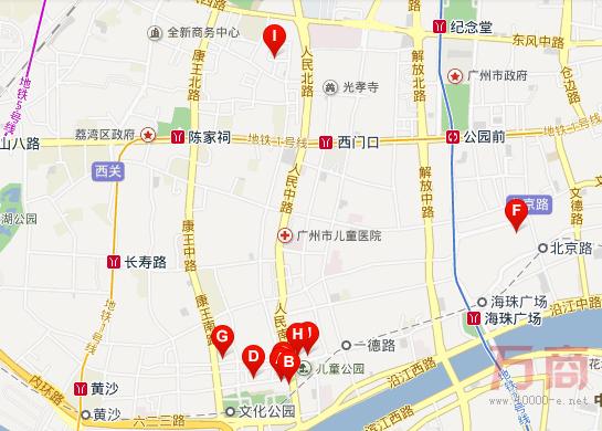 广州十三行服装批发街地图位置